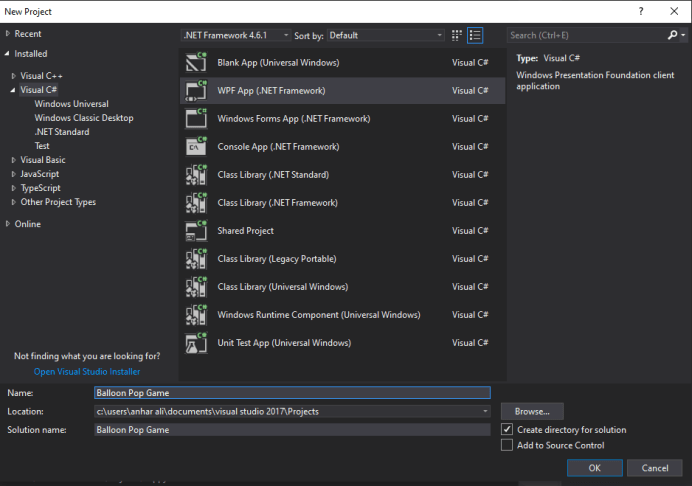 mooict wpf tutorial - open a new project for the balloon popping game in visual studio