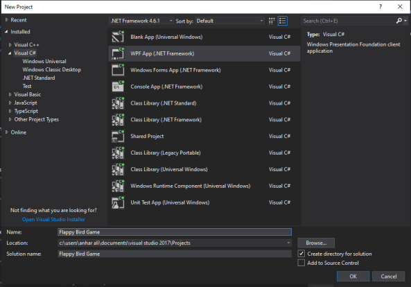 mooict flappy bird wpf c# tutorial - project window