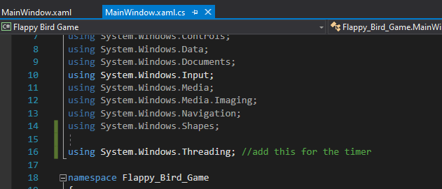 mooict flappy bird c# wpf tutorial - add threading name space to c# script