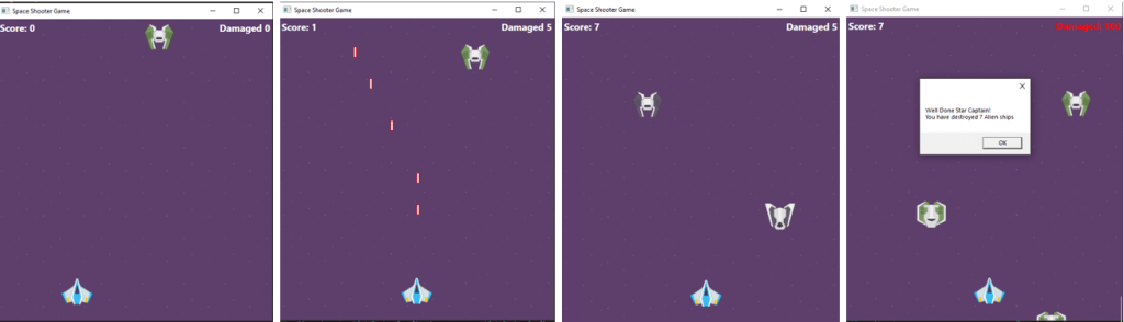 final space shooter game screen shots showing the functionalities