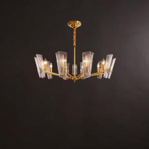 Glass Disks Chandelier/Brass