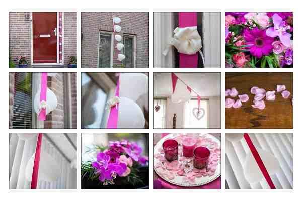 kleur thema bruiloft wit roze paars trouwdag trouwen bruidsfotografie
