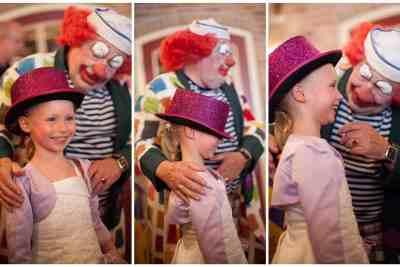 clown kinderen trouwfeest tip leuk bruidsfotografie trouwfoto