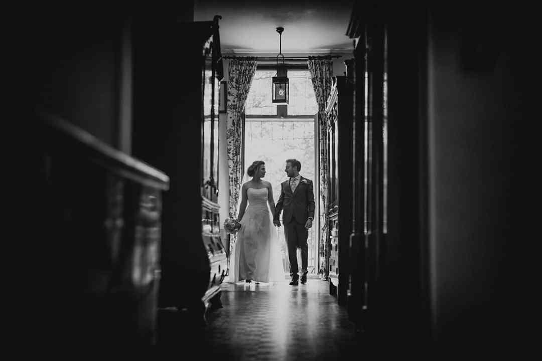 kasteel Lisse zwart-wit bruidsfoto