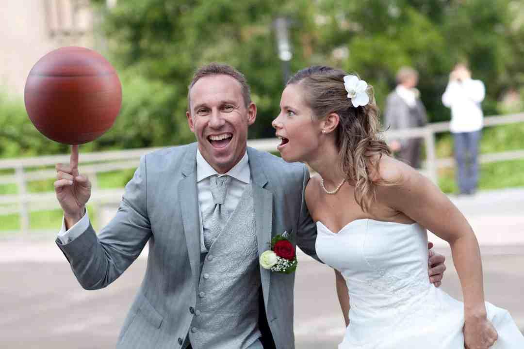 bruidspaar voetbal sport