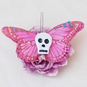 skull butterfly hair clip