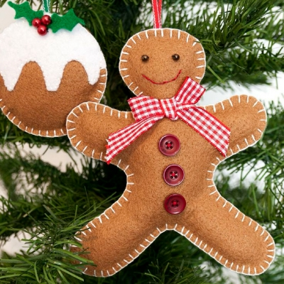 felt gingerbread man christmas tree decoration