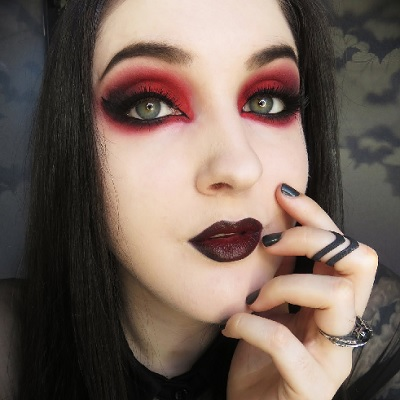Gothic Black And Red Eyeshadow Tutorial With Biohazardous