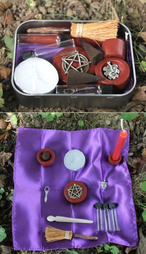 Portable pagan altar in a tin
