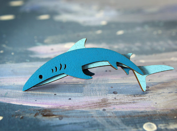 shark brooch large