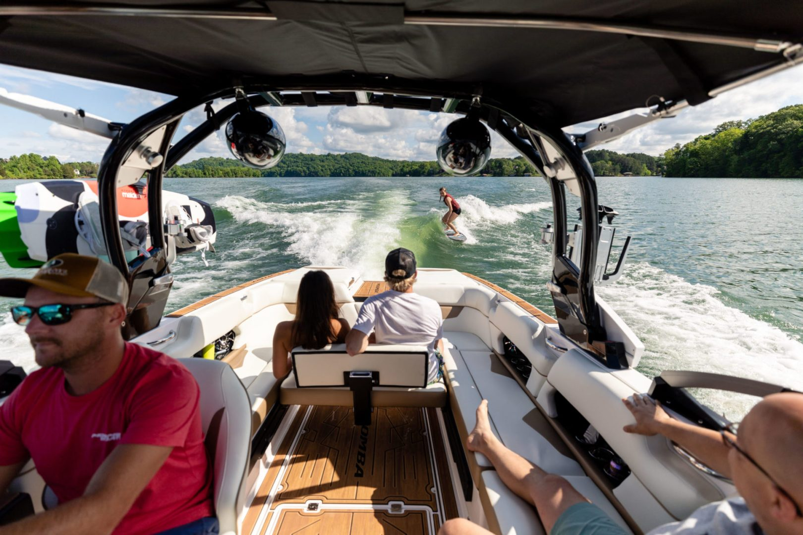 Our convertible sliding rear seat is a standard in every Moomba wake boat with an optional backrest for added comfort.