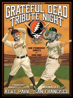 M1002 › 8/3/17 Grateful Dead Tribute Night at AT&T Park, San Francisco, CA poster by Chris Shaw