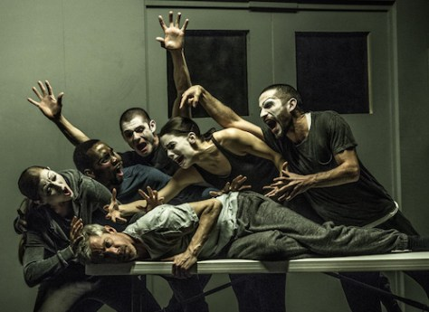 Photo of dancers from Betroffenheit playing at the Bluma Appel Theatre