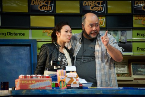 Photo of Chantelle Han and Paul Sun-Hyung Lee in Kim's Convenience by Bruce Monk