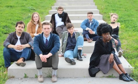Image of (from left to right): Justin Mullen, Emily Howard, Seamus Easton, Michael Ruderman, Justine Christensen, Philip J. Geller, Tymika McKenzie-Clunis, Geneviève DeGraves by Rae Ormshaw.