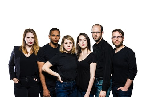 """Jessica Greco, Andrew Bushell, Leigh Cameron, Shannon Lahaie, Chris Leveille and Cameron Wyllie in """"32 Short Sketches About Bees"""", presented by Clear Glass Productions at the 2017 Toronto Fringe Festival."""