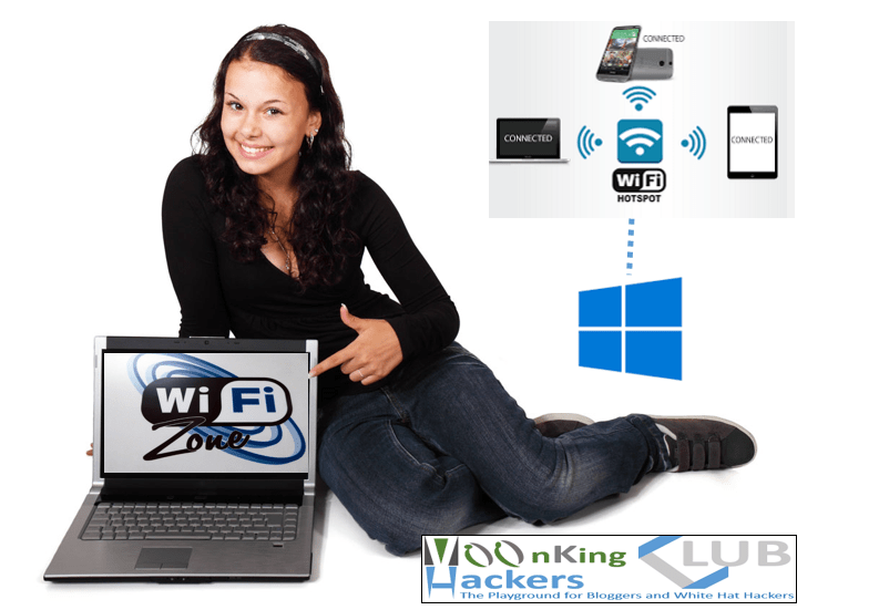 Turn your windows pc into a Wi-Fi hotspot without any software