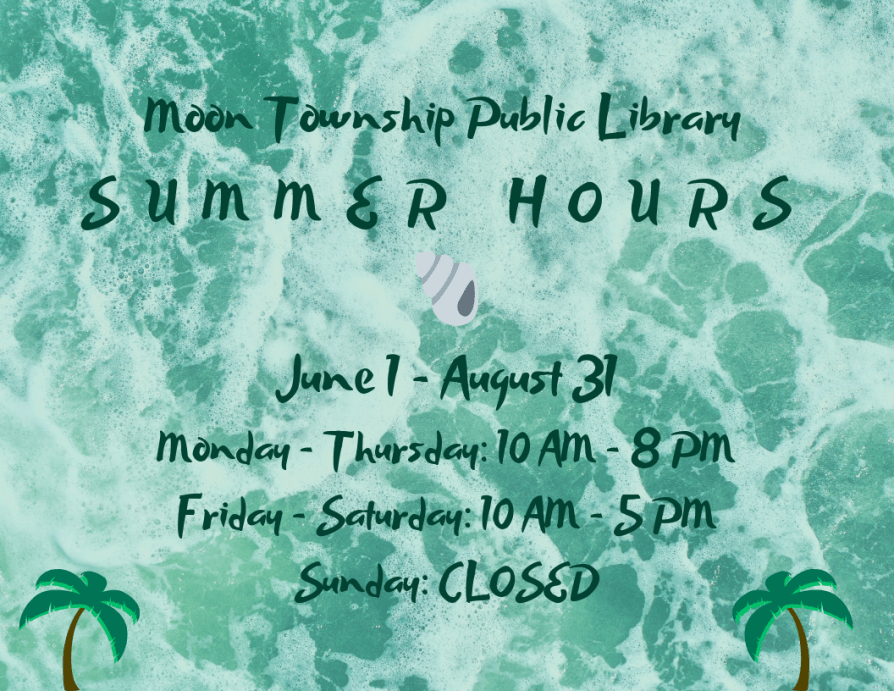 Library summer hours sign