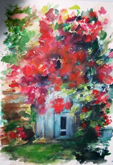 Rosa Prat Yaque. Pintura. El rosal de la entrada.