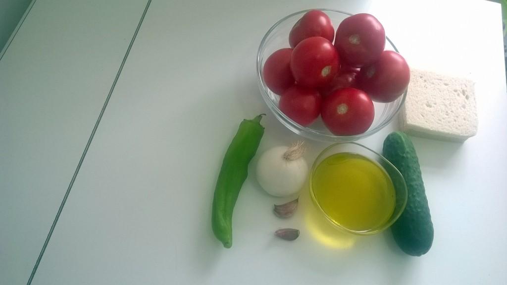 Ingredientes para el gazpacho
