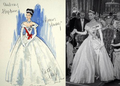 Boceto de Edith Head. Vestido de noche para secuencias del baile. El diseño estaba ideado para que el personaje caminara de manera erguida. Joyas de Joan Joseff.