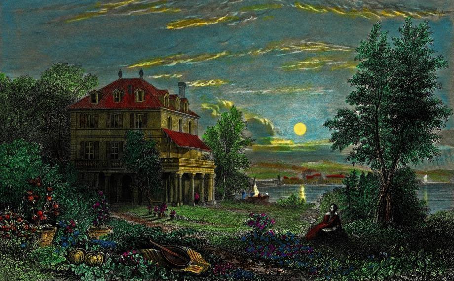Villa Diodati con luna. Fecha: 1833 c., grabado de Edward Francis Finden a partir de un dibujo de William Purser.