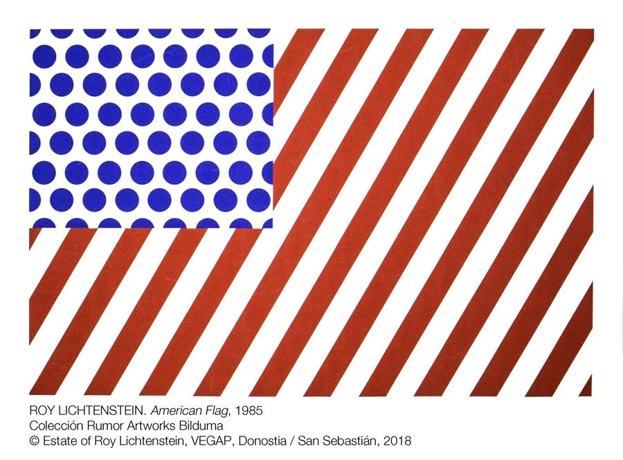 Exposición POP POP POP American Pop Art en sala Kubo-kutxa de Donostia Roy Lichtenstein. American flag, 1985