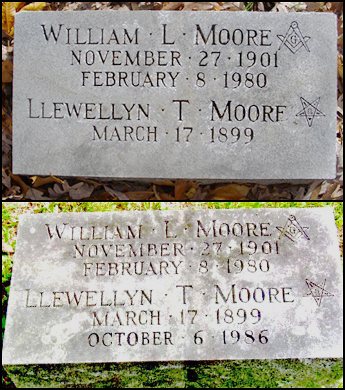 William and Llewellyn Moore tombstone