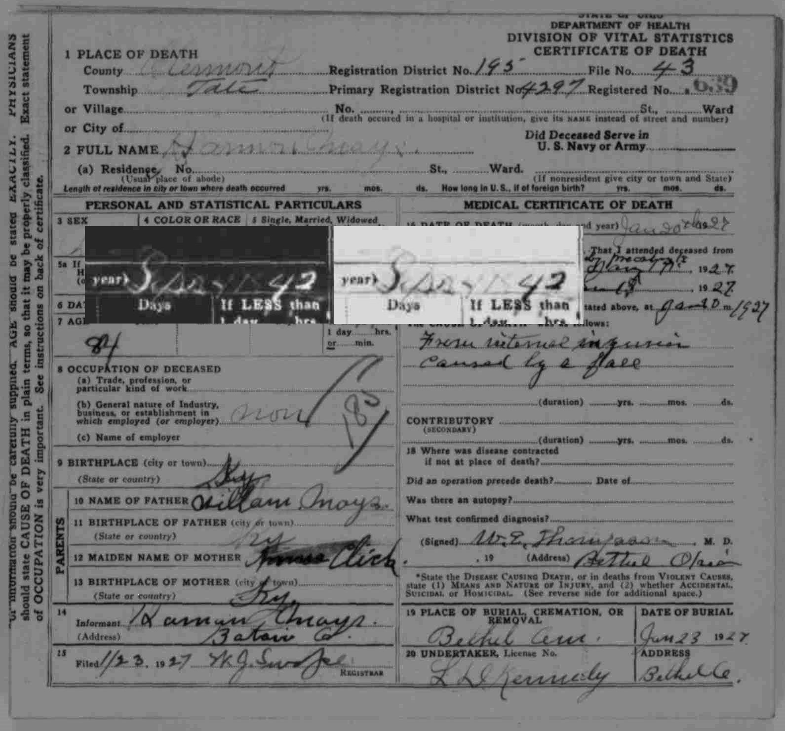 The misadventures of a genealogist the moore mays blog ohio department of health division of vital statistics death certificate 639 1927 harmon mays digital image aiddatafo Image collections