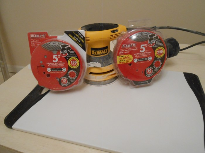 DeWalt orbital sander and Diablo sandpaper was used.