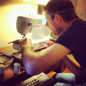 James trying out the Brother SE-400 sewing machine