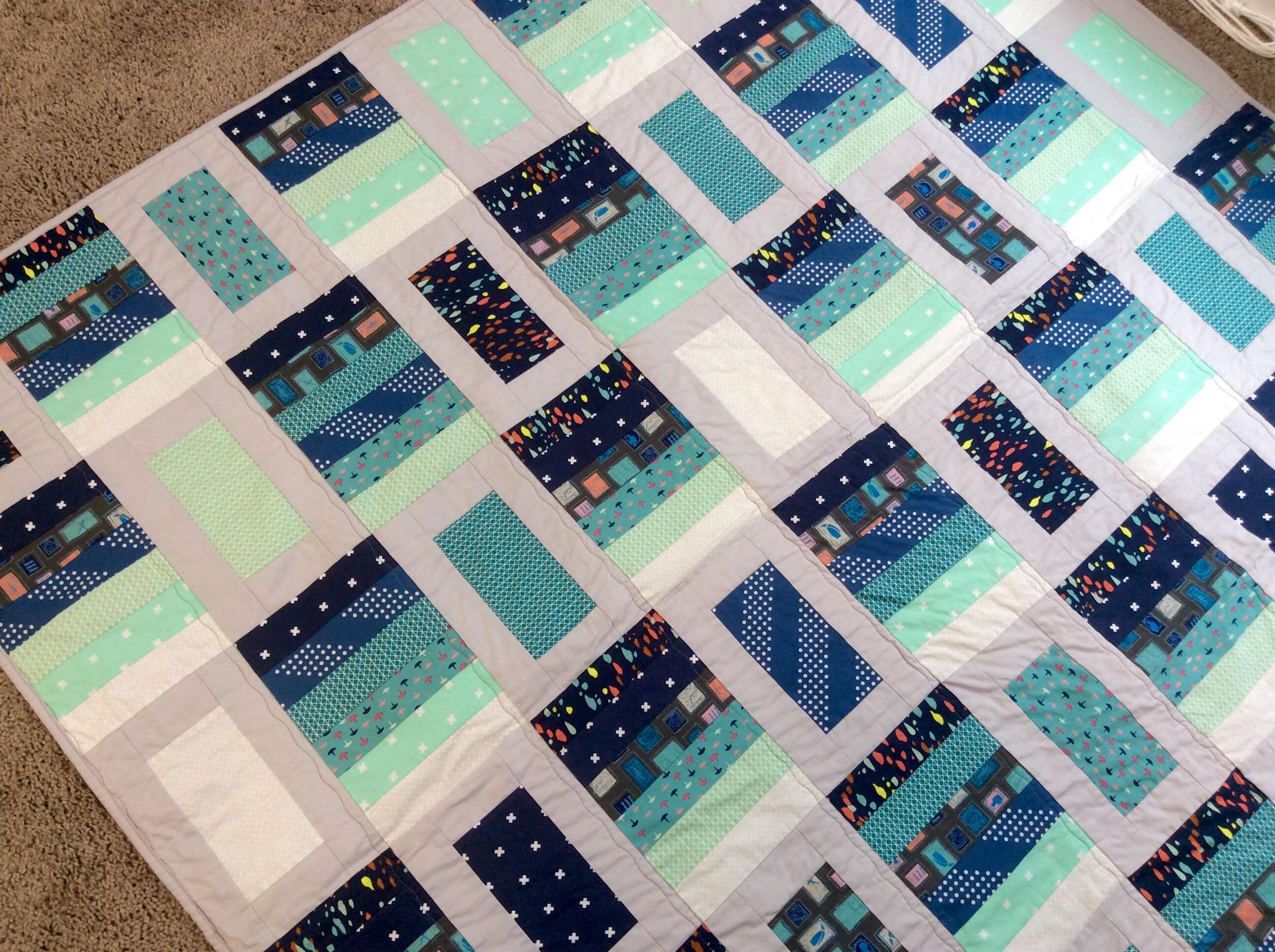 Moore Quilts: Blue Ocean Bells – MOORE APPROVED : blue gray quilt - Adamdwight.com