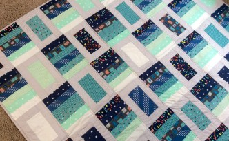 Blue gray modern quilt medium shot