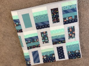 Blue gray modern quilt close corner