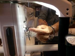 Handi Quilter longarm quilting machine threading cheryl close up hand
