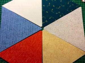Carolyn Friedlander Botanics fabric 60 degree triangle pie