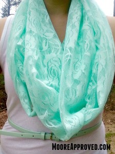DIY Mint Green Lace Infinity Scarf on model wide