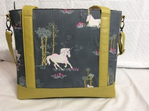 Sew Sweetness Tudor Bag Fantasia Art Gallery Fabrics unicorn purse back wide