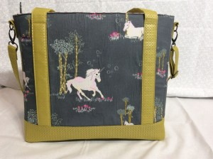 Sew Sweetness Tudor Bag Fantasia Art Gallery Fabrics unicorn purse back wide