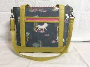 Sew Sweetness Tudor Bag Fantasia Art Gallery Fabrics unicorn purse standing wide 2