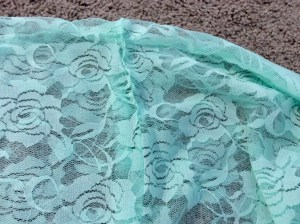 Mint Green Lace Infinity Scarf edge stitch opening closed