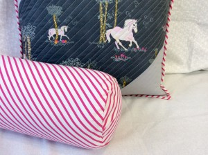 Fantasia fabric unicorn throw pillow closer
