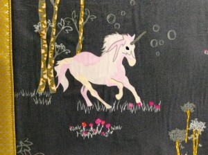 Sew Sweetness Tudor Bag Fantasia Art Gallery Fabrics unicorn purse close up fabric print