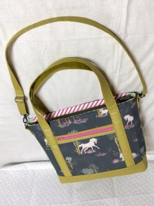 Sew Sweetness Tudor Bag Fantasia Art Gallery Fabrics unicorn purse lying down right side up 2