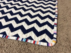 Navy White Red Chevron Baby Quilt Michael Miller's Wicker in Candy Paintbox Collection Cynthia Rowley corner