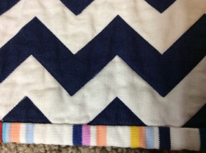 Navy White Red Chevron Baby Quilt Michael Miller's Wicker in Candy Paintbox Collection Cynthia Rowley chevron white close edge