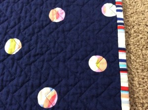 Navy White Red Chevron Baby Quilt Michael Miller's Wicker in Candy Paintbox Collection Cynthia Rowley chevron navy edge close