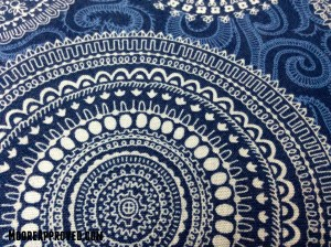 Moore Approved Connecting Threads Quilting Cotton Symphony of Blues Cartouche print fabric
