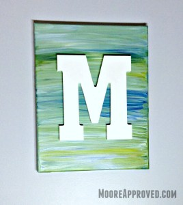 Moore Approved Canvas Art Acrylic Paint Target Hand Made Modern Blue Green White Chalk Monogram Canvas Art M