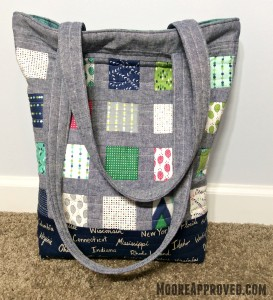 Moore Approved Tote Bag Quilted Exterior Color Me Happy Cotton and Steel Canvas Robert Kaufman Essex Linen Denim Wide Shot
